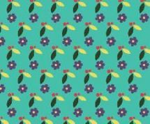 Fabric Freedom Camping - 4254 - Modern Floral Print, Plum on Aqua - FF94-1 - Cotton Fabric